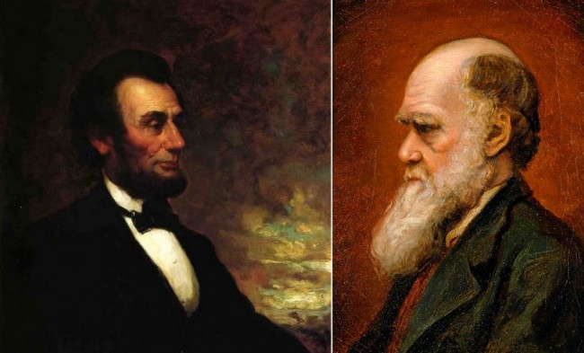 Lincoln painted by George Henry Story, Darwin by Laura Russell